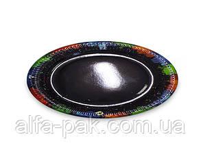Тарелка бумажная круглая черная D23