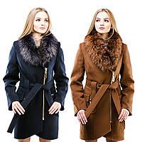 Женское пальто из кашемира с меховым воротником   СОФИЯ