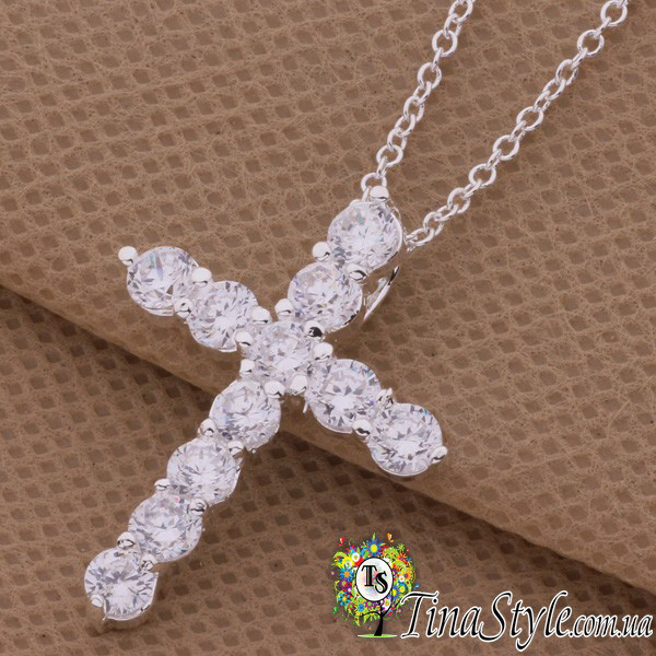 Подвеска кулон Крест крестик кристаллы с камнями цирконий стерлинговое серебро 925 проба хрестик Новинка Шарм