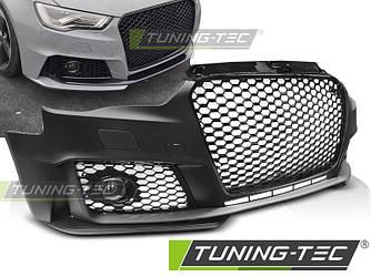 Бампер передний обвес Audi A3 8V в стиле RS3 (черный глянц)
