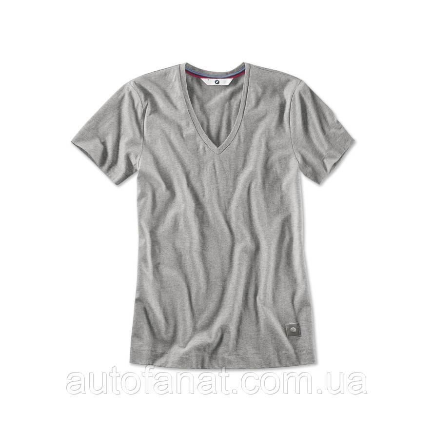 Женская футболка BMW V-neck T-Shirt, Ladies, Aluminium Grey Melange (80142411037)