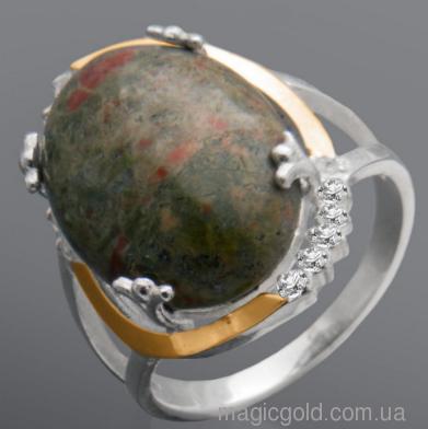 Серебряное кольцо Змеевик