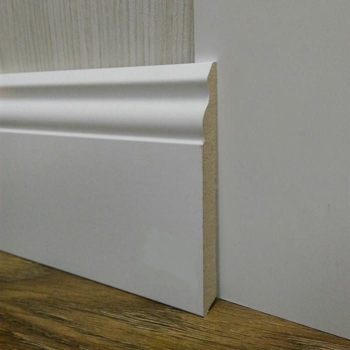 Плинтус белый напольный МДФ широкий 14,2х120х2400мм., ламинированный