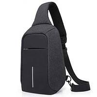 Сумка рюкзак Антивор, с внешним USB портом темно-серый
