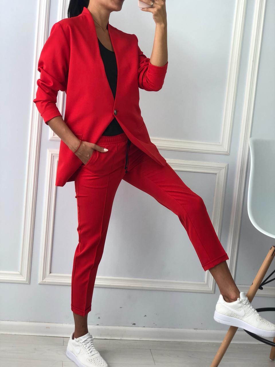 d536459903c Новинка!!!! Деловой женский брючный костюм с пиджаком красного цвета ...