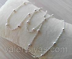 Серебряная цепочка с шариками