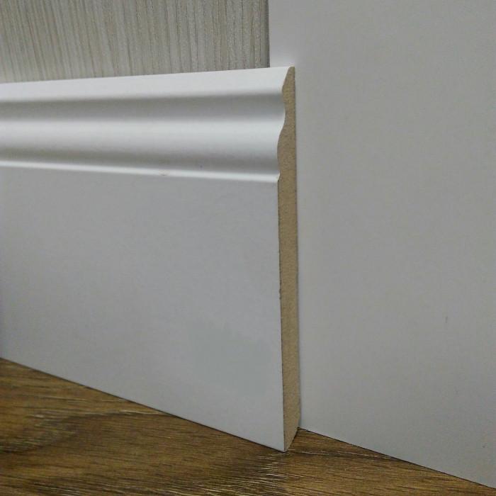 Плинтус белый напольный МДФ широкий 14,2х140х2400мм., ламинированный