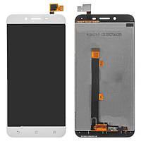 Дисплей (экран) для Asus ZenFone 3 Max 5.5 дюймов (ZC553KL)+ тачскрин белый Glacier Silver с передней панелью