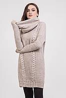 Теплое вязаное платье в комплекте с хомутом цвет Лен