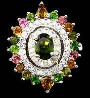 """Шикарный перстень с  турмалинами, хромдиопсидом  """"Глаз"""", размер 18,2  от студии LadyStyle.Biz, фото 1"""