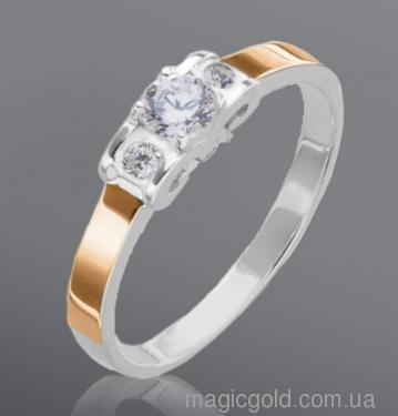 Серебряное кольцо с золотом и фианитами Динара