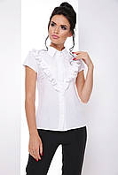 Модная блузка с рюшами, воротником и с галстуком-бантом 7070/6, фото 1