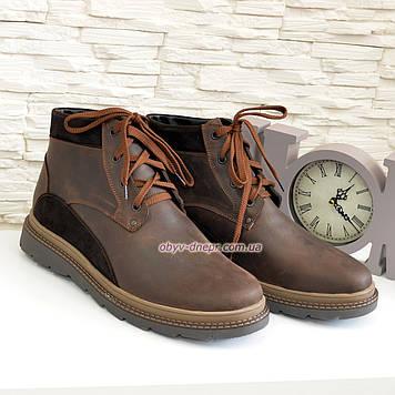 """Ботинки мужские коричневые на шнуровке, натуральная кожа """"крейзи"""" и замш"""
