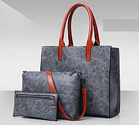 Женская сумка из экокожи набор 3в1 серый опт, фото 1