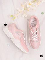 Розовые кроссовки женские на шнуровке 25805, фото 1