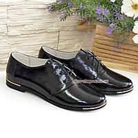 Туфли женские черные лаковые на шнуровке, низкий ход., фото 1