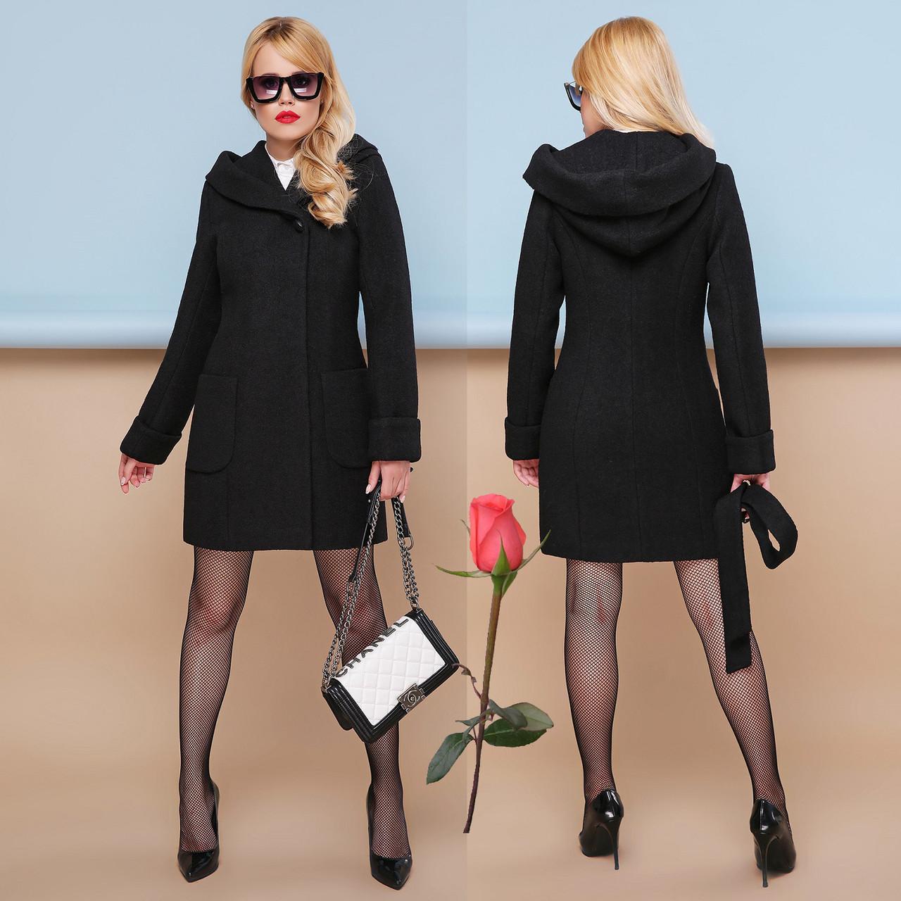 Модное демисезонное пальто с шикарным капюшоном  GL 77003  Черный