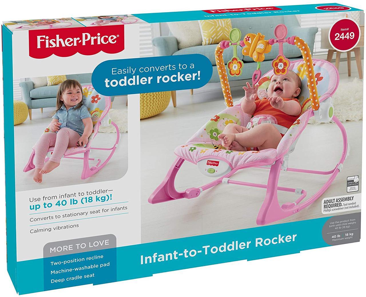 Fisher-Price кресло качалка шезлонг розовый для девочки