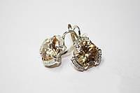 Комплект из серебра серьги, кольцо, кулон,браслет
