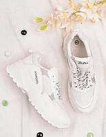Белые кроссовки женские на шнуровке 25794, фото 1
