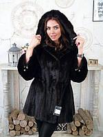 Норковая шуба с капюшоном практически черная 46 48 размер капюшон