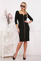 Облегающее платье с декольте на молнии впереди Черный