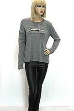 Жіноча сіра трикотажна кофта з принтом , фото 2