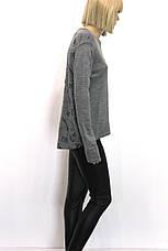 Жіноча сіра трикотажна кофта з принтом , фото 3