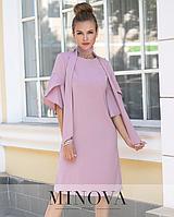 82c3891b5d57cc4 Элегантное платье-трапеция с рукавами –колокольчиками и шарфом-чокером  Minova норма р.