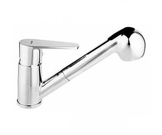 FERRO Algeo Смеситель для кухни, с поворотным изливом с выдвижным ручным душем, однорычажный, хром