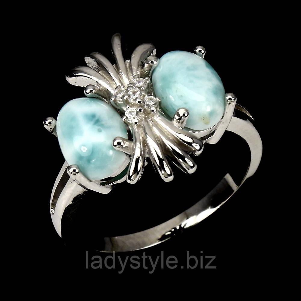 "Серебряное кольцо с  ларимаром  ""Сова"", размер 17,3"