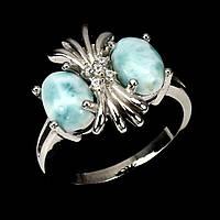 """Серебряное кольцо с  ларимаром  """"Сова"""", размер 17,3, фото 1"""
