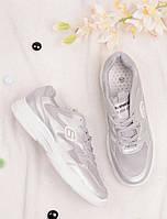 Серебристые кроссовки женские на шнуровке 25787, фото 1