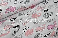 """Ткань хлопок  """"Киты с узорами"""" коралово-розовые на белом фоне №1148"""