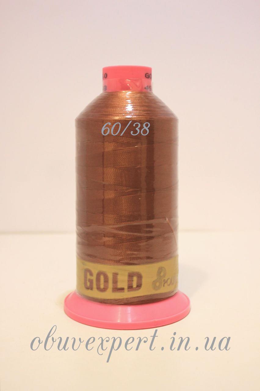 Швейная нить Gold Polydea 60 № 38 коричневый