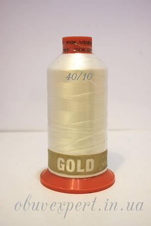 Швейная нить Gold Polydea 40 № 10, цв. белый, фото 2
