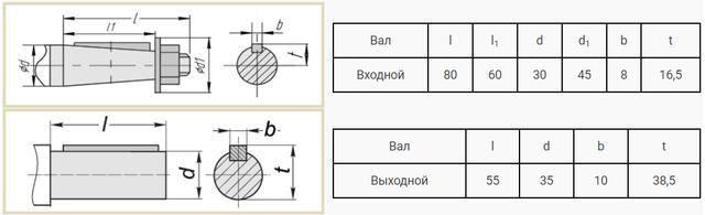 Присоединительные размеры валов редуктора ВК-350 чертеж
