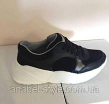 Кросівки з натуральної шкіри зі вставками натуральної замші чорні на білій підошві Код 1729, фото 3