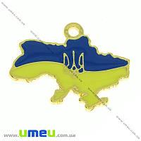 Подвеска металлическая «Карта України», Золото, 20х25 мм, 1 шт. (POD-010683)