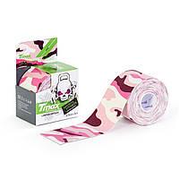 Кинезио тейп Tmax Tape 5см х 5м Камуфляж Розовый