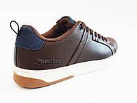 Спортивные туфли мужские коричневые эко-кожа Restime 18519
