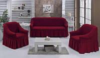 Чехол на диван и 2 кресло,Турция с оборкой DO&CO Бордовый (ЦВЕТА РАЗНЫЕ)