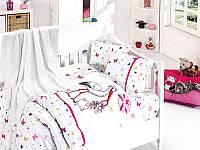 Комплект постельного белья детский с вязаным пледиком First Choice Baby Nirvana Set Stork Pembe бамбук 100*150, фото 1