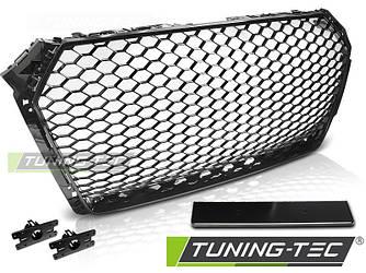 Решетка радиатора Audi A4 B9 стиль RS (черный глянц)
