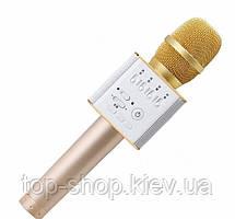 Беспроводной микрофон для караоке Tuxun Q9 золотой с колонкой + чехол
