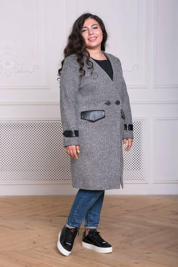 Пальто без воротника Грейс темно-серое(54-60)