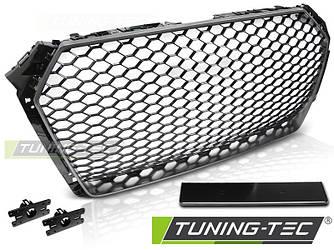 Решетка радиатора Audi A4 B9 стиль RS (черный глянц + рамка серебро)