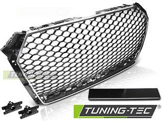 Решетка радиатора Audi A4 B9 стиль RS (черный глянц + рамка хром)