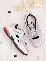 Серебристые кроссовки женские на шнуровке 25784, фото 1