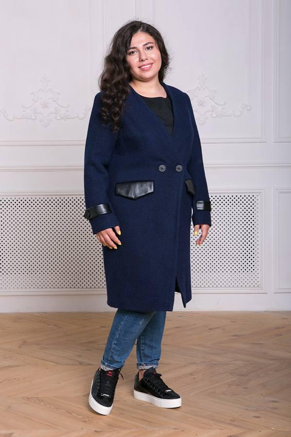 Пальто без воротника Грейс темно-синее(54-60)